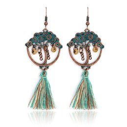 Wholesale Ancient Gold Beads - Tree of Life Tassel Earrings Ancient bronze Metal Beads Chain Colorful Woolen Dangle Bohemia Drop Earrings for women girls Party