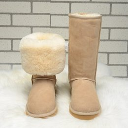 Wholesale Thick Fur Boots - Free shipping2017 new Australian snow boots thick leather bow in the tube snow boots cotton shoes
