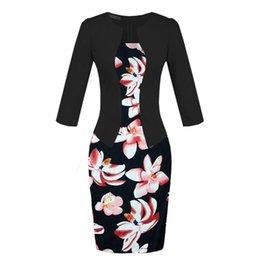 Wholesale Pencil Skirts Dresses Office - Elegant office lady pencil dress false two piece suit women work dresses long sleeve coat floral print skirts with belt plus size ML-402