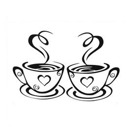 Wholesale Coffee Cups Art - 1pair Wall Stickers of Coffee Cups Kitchen Wall Tea Sticker Vinyl Decal Art Restaurant Pub Decor Love