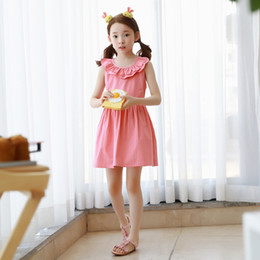 Wholesale Pink Doll Clothing - Everweekend Big Girls Ruffles Doll Collar Bow Backless Dress Princess Pink Color Summer Party Clothing