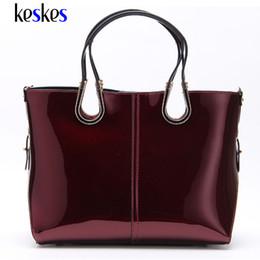 Wholesale Tote Shoulder Bags Handbag - Wholesale-Patent Leather Medium Women Shoulder Bags Tote Women Handbags Luxury Women Messenger Bags Famous Brands Female Tote Bags ZCP131