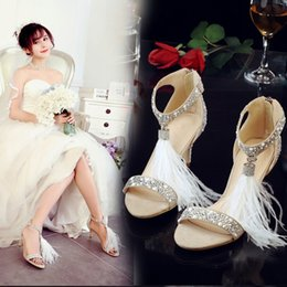 Wholesale Cheap Crystal Buckles - Unique Bead Crystal Wedding Shoes 2017 Summer Sandals With Tassels Ankle Straps High Heel Women Shoes For Wedding Cheap Bridal Shoes