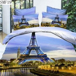 Wholesale Cotton Sheeting Material - Wholesale-The queen size eiffel tower pattern type 3d series bedding set 4pcs supply polyester material pillowcase duvet cover bed sheet
