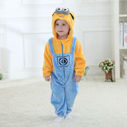 Wholesale Minions Costumes - New Year Baby Clothing Flannel Winter Baby Jumpsuit Romper For Girl Boy S.oft Minion Kitty Cat Cosplay Costume For 0-2Y Infant