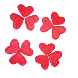 Wholesale Heart Motifs - 10pcs Free Shipping Patches DIY Small Love Heart Embroidery Iron On Patches Clothes Appliques Sew On Motif Badges Women Cloth
