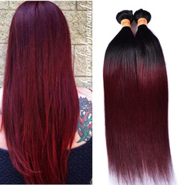 Wholesale 1b 99j - PASSION Ombre Straight Hair Weaves 4 Bundles Dark Red 1B 99J Burgundy Brazilian Virgin Hair 100% Human Hair Weave Bundles