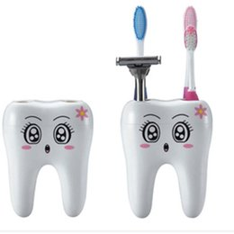 Wholesale Teeth Style Toothbrush Holder - Teeth Style Toothbrush Holder 4 Hole Cartoon Toothbrush Stand Tooth Brush Shelf Bracket Container Bathroom Accessories Set