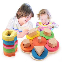 Wholesale Wholesale Brain Training Toys - Wholesale- Kids Baby Wooden Learning Flower Educational Toys Puzzle Montessori Early Learning Stacking Building Brain Training Toys