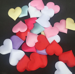 Wholesale Cheap Wedding Confetti - cheap ! 100pcs Fabric Heart dia 3.5x3.5cm   2x1.5cm Wedding Party Confetti Table Decoration birthday party Decorative Supplies