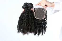 Wholesale Cheapest Brazilian - Cheapest kinky Curl Hair Bundles Brazilian Malaysian Peruvian Indian with closure Remy Human Hair 100% High Quality Hair Weave Free Shipping