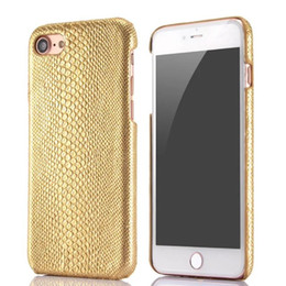 Wholesale Glue Grain - Glitter Bling Lizard Grain Hard Case For Iphone 7 Plus I7 Iphone7 Fashion Snake Leather Veneer Gluing Skin Cover Bag Luxury Cell phone 10pcs
