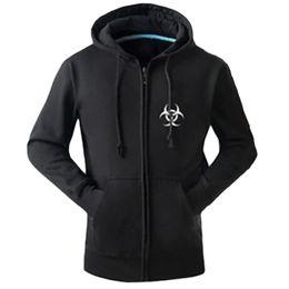Wholesale Biohazard Costume - Wholesale- New Style Resident Evil Cosplay Costume Hooded Jacket Coat Fashion Umbrella Corporation LOGO Unisex Hoodie Sweatshirt Biohazard