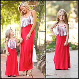 Wholesale Casual Maxi Dresses For Girls - Mother and Daughter white tassels maxi dress fashion simple style tassels slip dress for girls sisters and mothers summer fashion dress
