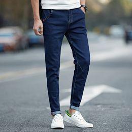 Wholesale Denim Jeans 27 - Wholesale- 2017 spring and summer new solid elastic pencil jeans casual skinny jeans men hip hop original denim pants 4 color size 27-36