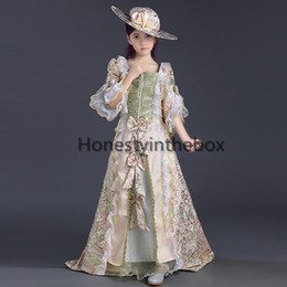 Wholesale Victorian Girls Dresses - 2017 newest Children pink printed lace Victorian Medieval Girl Party Dresses Girls Renaissance Reenactment Theater Clothing