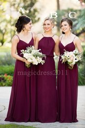 Wholesale Cheap Gorgeous Bridesmaid Dresses - 2016 Gorgeous Burgundy Wedding Bridesmaid Dresses A-Line Halter Sweetheart Chiffon Ruffled Cheap Floor-Length Maid of Honor Covered Button