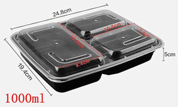 Wholesale Disposable Plastic Food Packs - 50 Sets Thick Pack Meal Containers 3 Compartment Food Containers with Lids PP Meal Prep Food Storage Containers Disposable Dinnerware 1000ml