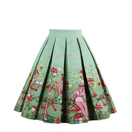 Wholesale Teen Knee High - Free DHL Women Pleated Vintage Skirt Floral Printed High Waist A line Tutu Teen Formal Women Dance Prom Party Coktail Casual Dress 20 Styles