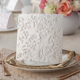 Wholesale Wedding Invitations White Sheet Card - White Paper Blank Inner Sheet Laser Cutting 2017 Unique personalized& customized printing Wedding Invitation Cards Flowers Hollow CPA825