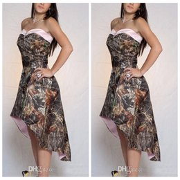 Wholesale Lace Dresses Online - 2018 A Line High Low Camo Bridesmaid Dresses Short Customized Formal Vestidos De Bridesmaid Cheap Online Camouflage Honor Of Maid