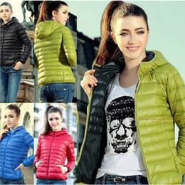 Wholesale Green Nylon Coat - 2017 Autumn Winter Jackets for Women Sport Slim Down Jacket Hooded Casual Coats Zipper Outerwear S-3XL LX3625