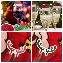 Wholesale Antlers Hat - Mini Christmas Wine Glass Paper Cards Santa Hat Deer Antlers Table Place Cards Wine Champagne Glass Cup Decor OOA3593