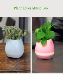 Wholesale Wholesale Piano Music Box - Led light Plant Pots Smart wireless Bluetooth Speaker Touch Piano Music Playing Smart for Phones PC Laptops