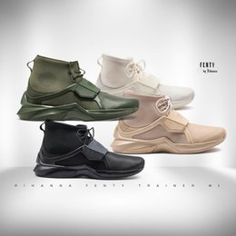 Wholesale Hi Box - Wholesale 2017 Fenty By Rihanna Shoes Collections Fenty Trainer Hi Womens Sneakers Black Cypress Sesame Whisper White Size 36-40 With Box