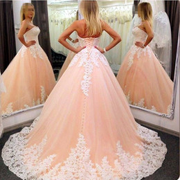 Wholesale Peach Pear - White Lace Appliques Sweetheart Peach Pink Tulle Ball Gowns Prom Dresses 2017 Elegant Prom Dress Custom Made