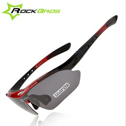 Wholesale Rockbros Polarized Sunglasses - RockBros Polarized Cycling Bike Sun Glasses Outdoor Sports Bicycle Bike Sunglasses TR90 Goggles Eyewear 5 Lens Bicycle Accessory