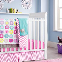 Wholesale Baby Bedding Curtain Set - Donuts Pattern For Baby Girl Ten Pieces Baby Crib Bedding Sets Include Quilt Bed Around Mattress Cover Bed Skirt Diaper Bag Curtain