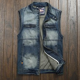 Wholesale Vintage Motorcycle Club - Wholesale- Mens Blue Denim Collarless Motorcycle Club Biker Vest Vintage Washed Zipper Sleeveless Jacket