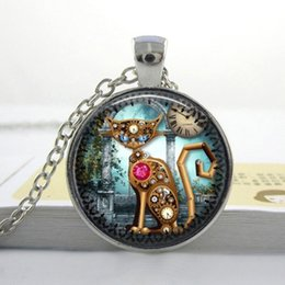 Wholesale Clock Plate Vintage - New Fashion Glass Photo Vintage Steampunk Cat Pendant Steampunk Clock Necklace Steampunk Jewelry