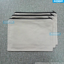 Wholesale Blank Zipper Bag - (10pcs lot) Blank Natural & White Color 12oz Pure Cotton Canvas Cosmetic Bags Blank Cotton Zipper Pouch For Custom Printing Have Lining