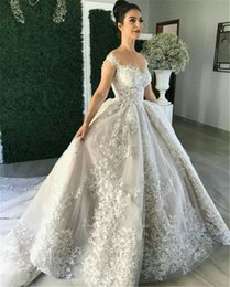 Wholesale Closure Cap - 2017 Ball Gown Sheer Neckline with Pleated Puffy Chapel Train Lace Appliqued Bridal Dresses with Covered Buttons Closure Wedding Gowns
