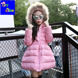 Wholesale Kids Winter Snowsuits - autumn winter Children's dresses Puff skirt section Thicken Padded kids Hooded with fur Down Jackets outerwear girls Snowsuits