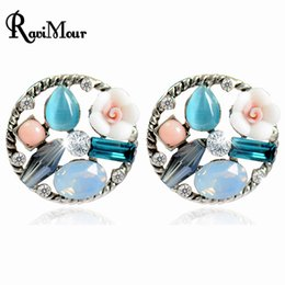 Wholesale Blue Opal Studs - RAVIMOUR Boucle d'oreille Vintage Flower Round Stud Earrings For Women Fashion Blue Opal Brincos Pendientes Mujer Jewelry