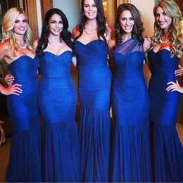 Wholesale Factory Maid - Simple Sexy Blue Tulle Sweetheart or One Shoulder Bridesmaid Dresses Maid of Honor Wedding Guest Gown Factory High Quality Custom Made