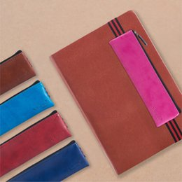 Канцелярский набор онлайн-Wholesale- Creative PU Leather Stationery Pencil Bag With Elastic Band Notebook Bookmark Pencil Case For Office&School Supplies