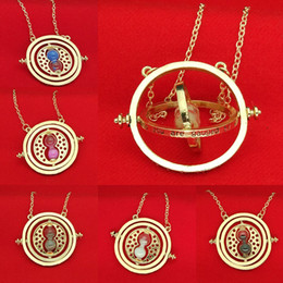 Wholesale Glasses For Parties - 9 COLORS Harry Hermione Time Turner Necklace Gold Silver Time Converter Sand Glass Pendants for Women Potter Fashion Jewelry Gift Drop Shipp