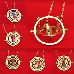 Wholesale Black Quartz Pendant - 9 COLORS Harry Hermione Time Turner Necklace Gold Silver Time Converter Sand Glass Pendants for Women Potter Fashion Jewelry Gift Drop Shipp