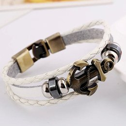 Wholesale Male Female Beaded Bracelets - Vintage Punk Bracelet Fashion Leather Alloy Anchor Bracelet Weave Beaded Cowhide Pulseiras Male female Casual armbanden