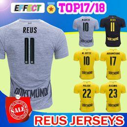 Wholesale Black Viscose - New Arrived 17 18 Reus home yellow soccer jersey 2017 2018 AUBAMEYANG GOTZE KAGAWA DEMBELE PULISIC away black Third Gray football shirts