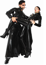 Wholesale pvc sexy outfits - Movie Men Womens Cool Black PVC Halloween Party Trench The Matrix Outfit Fancy DS Singer Cosplay Performance Coat