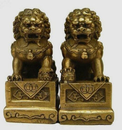 Wholesale Brass Dog Statue - Statues gifts Chinese Old China Chinese Brass Folk Foo Dog Guardion Door Lion Statue Pair Figure decoration