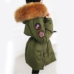 Wholesale Womens Real White Fur Coat - 22cm Large Natural Real Raccoon Fur 2016 Winter Womens Jackets And Coats White Duck Down Jacket Thicken Parka Outwear Army Green