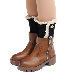 Wholesale Korean Car Cover - Wholesale- Korean Style Lace Woman Three Button Short Knitted Patchwork Leg Warmers Boot Cover Cuffs Polainas Trico Car-Covers #OR
