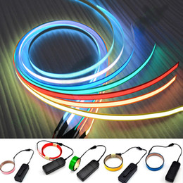 Wholesale Glow Tapes - 1*100cm neon glow tape EL cold light stirp flexible rope tape 7 clolors AA battery DC3V flashing warnning lights dress up decoration