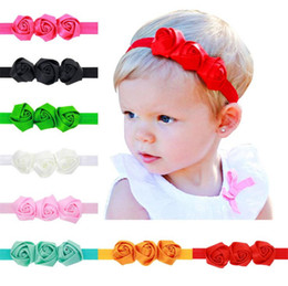 Wholesale Girls Rosette Hair - Baby headbands 3 Rose Flowers Girls satin fabric Hairbands Children Hair Accessories Princess Elastic rosette Headwear for Babies KHA109